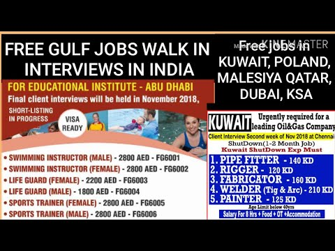 FREE GULF JOBS WALK IN INTERVIEWS IN INDIA, FREE VISA, FOOD, Accommodation & TRANSPORTATION