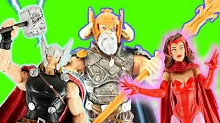 6 MARVEL ACTION FIGURES Thor, Scarlet Witch, Hawkeye, Machine Man, Iron Fist, Avengers Buildafigure