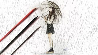 How to Draw a Girl with Umbrella in Rain | Ioana Cotuna