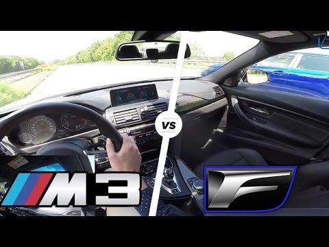 BMW M3 Competition Package 2016 vs Lexus GS F FAST! Acceleration Autobahn POV Drive