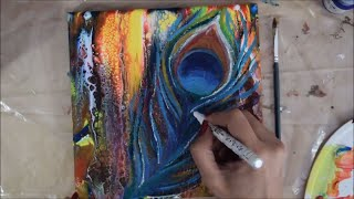 Swipe & Abstract Technique | How to paint Peacock feathers | Acrylic Pour | Fluid Art | Jasvir Kambo
