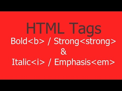 Bold & Strong And Italic & Emphasis HTML Tags With Example - Hindi/Urdu
