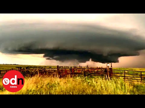 Supercell Thunderstorm Spins Rapidly Through Kansas Farmland