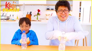 Bottle Flip Challenge with Tiny Hands Ryan vs Daddy!