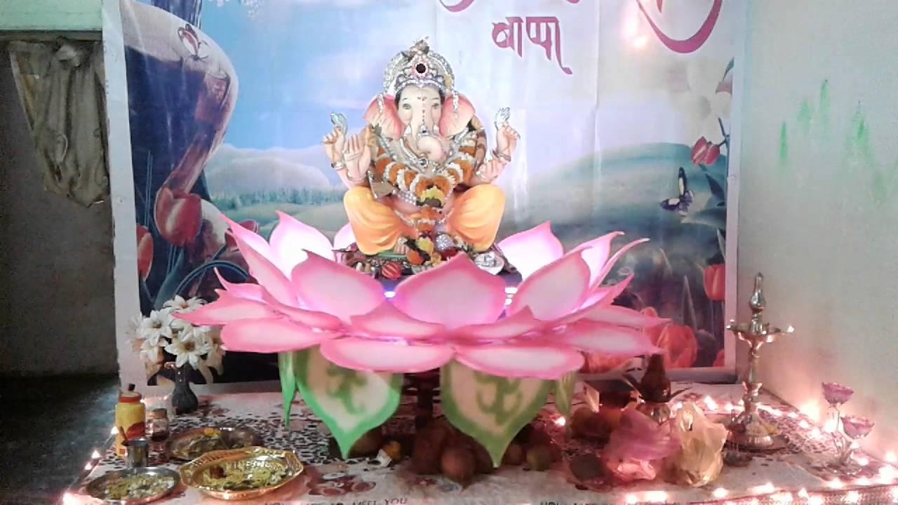 My Home Ganpati Decoration Rotating Lotus Youtube