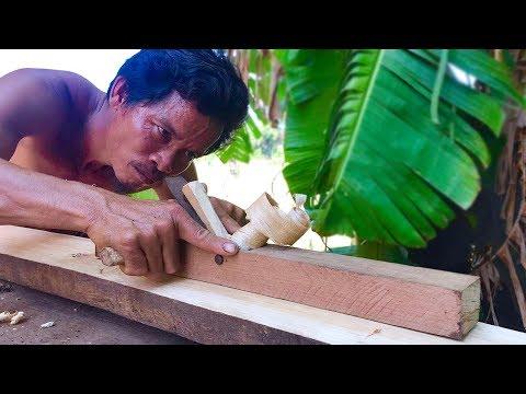 Primitive Culture: How to Make Carpenter's Plane Woodworking Tool, Unbelievable Shavings!