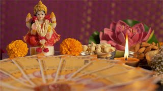 Laxmi Puja for Diwali Celebration - Traditional Indian home setup for festival