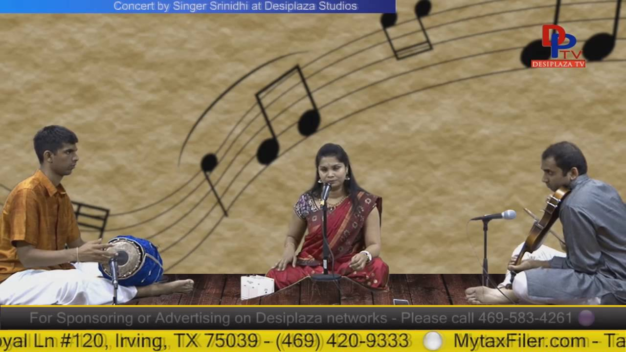 Part.3 Srinidhi  giving Carnatic music concert at Desiplaza Studio,Irving,Texas