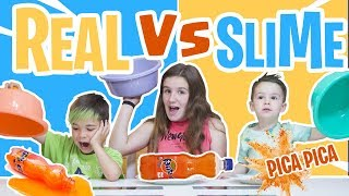DRINK SLIME vs REAL DRINK vs PICA PICA!! bebida real vs bebida slime