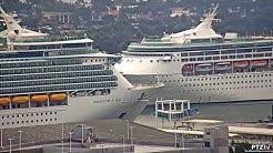 NAVIGATOR OF THE SEAS & GRANDEUR OF THE SEAS make an unusual pass  at Port Miami - 5/26/2020