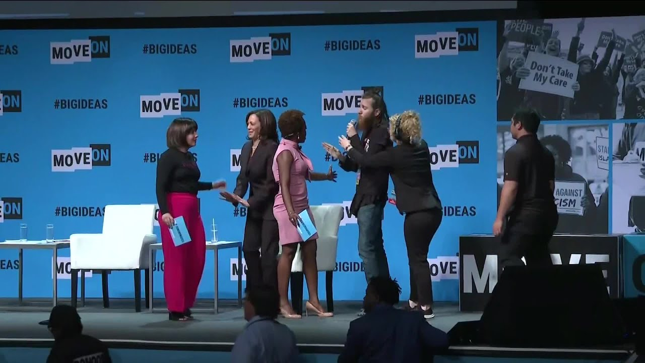 Protester storms stage and takes mic from Kamala Harris
