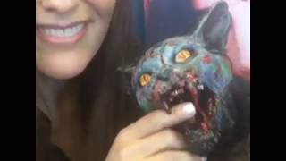 Ashley Laurence with zombie cat
