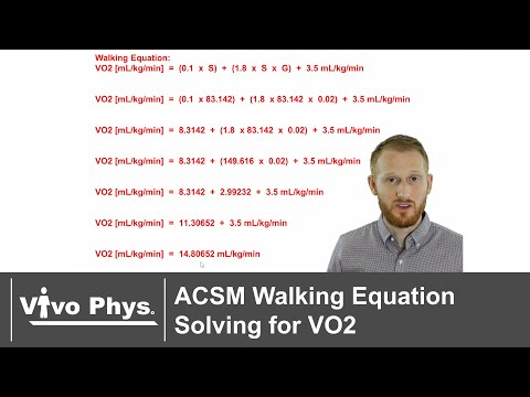 ACSM Walking Equation Solving For Oxygen Consumption - VO2