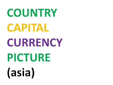Countries Capitals and Currencies (asia)