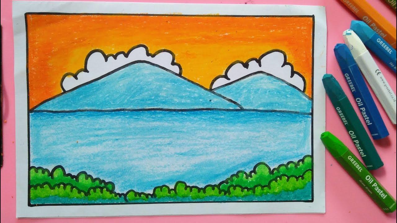 Cara Menggambar Dan Mewarnai Pemandangan Alam Gunung Super Mudah