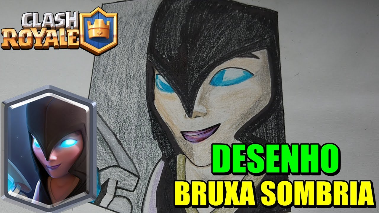 Desenhando A Nova Carta Bruxa Sombria Clash Royale 11 Youtube