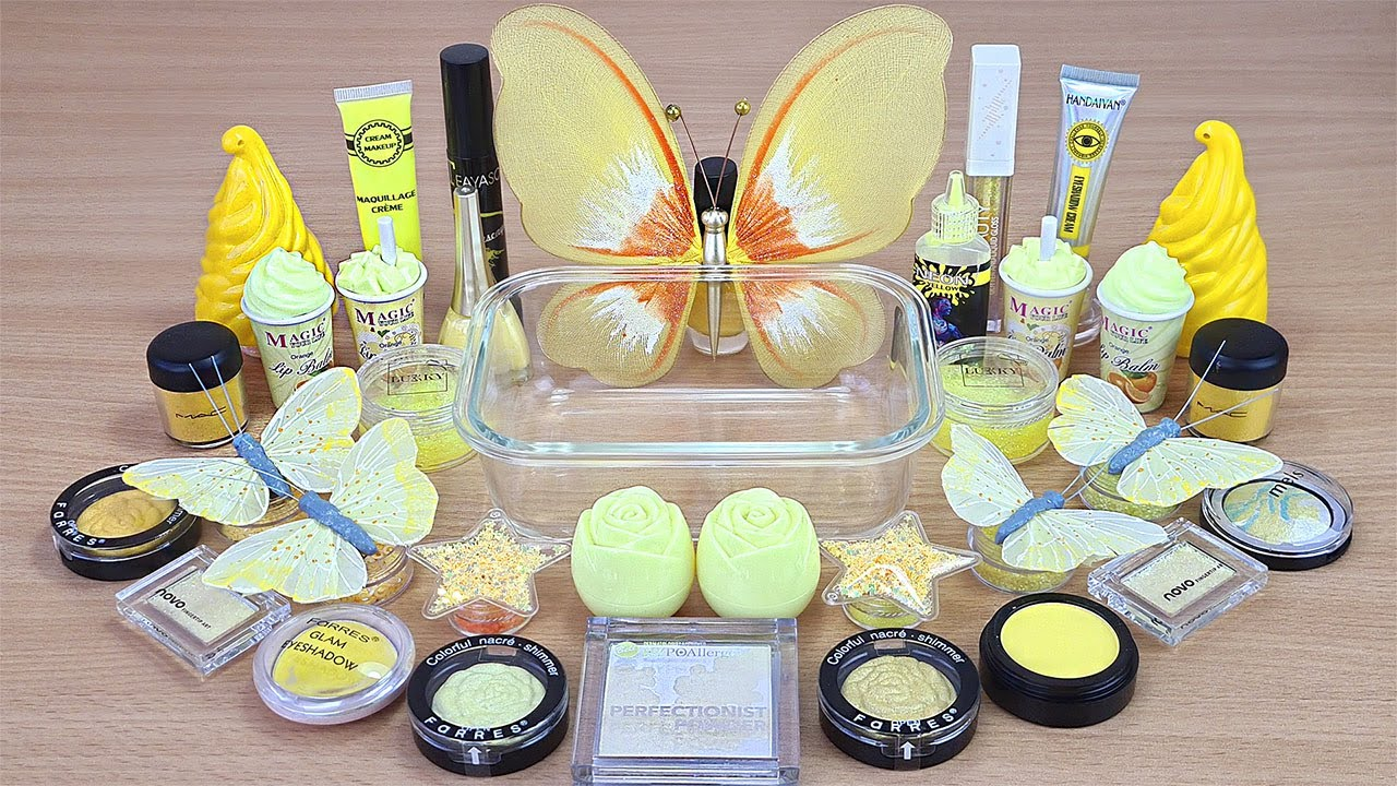 Yellow BUTTERFLY SLIME Mixing makeup and glitter into Clear Slime Satisfying Slime Videos