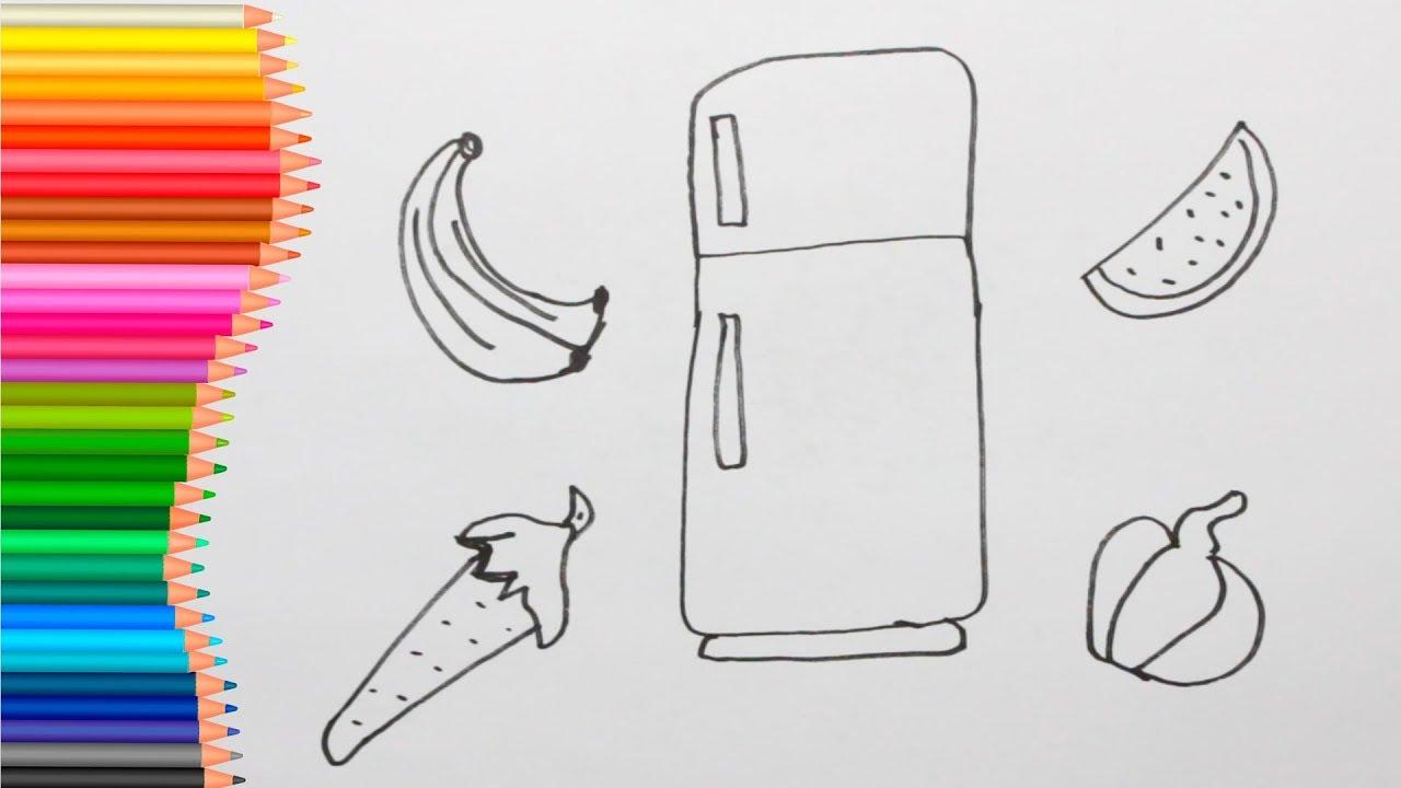 Como Desenhar E Colorir Geladeira Frutas E Verduras Youtube