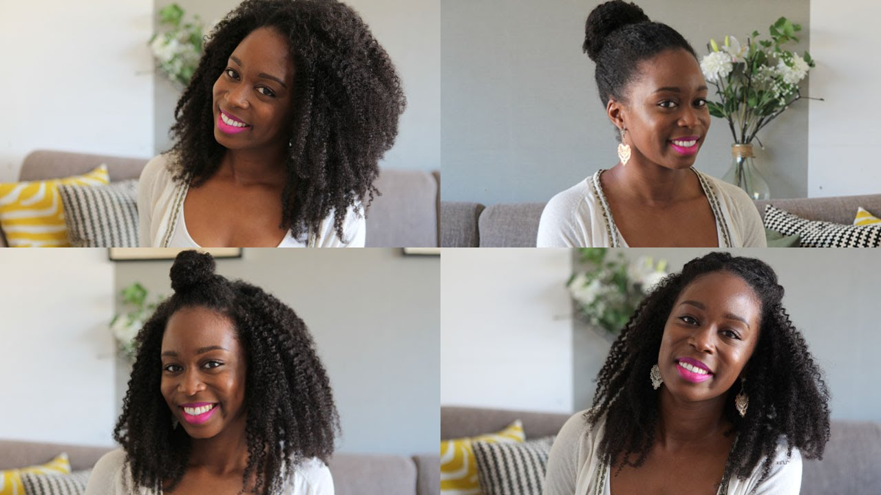 4 hairstyles with kurly klips - natural hair extensions - youtube