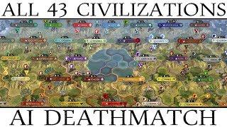 Civ 5: All 43 Civilizations AI Only Deathmatch