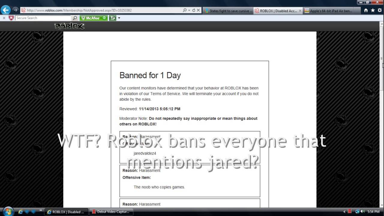 ROBLOX Bans Anyone Who Mentions Jared
