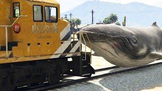 GTA 5 Mods 'KILLER WHALES VS TRAIN' (GTA 5 Train Crashes, GTA 5 Animal Guns Mod, Funny Moments)