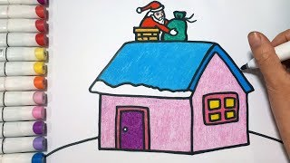 How To Draw Santa Claus and Christmas House || Draw For Kids