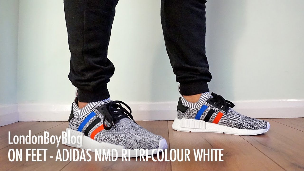 on feet adidas nmd r1 tri colour white youtube