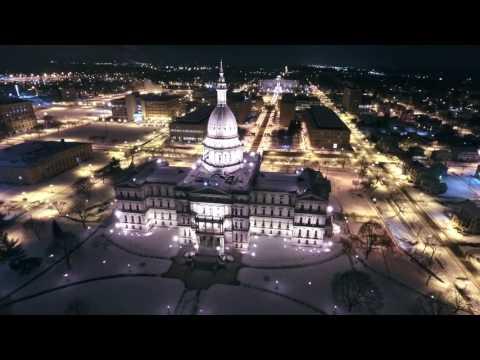 Lansing Michigan Capitol Drone footage