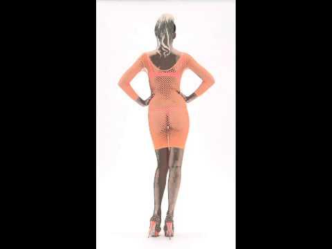 Fishnet Dress, Neon Orange