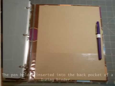 Pen Holder Insert for 3-ring binder - YouTube