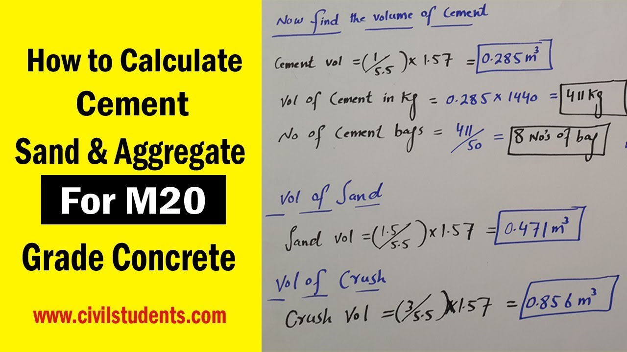 How To Calculate Cement Sand And Aggregate For M20