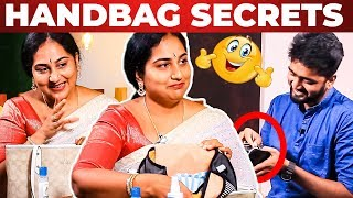 Actress Gayathiri Ravi Handbag Secrets Revealed   What's Inside the Handbag?