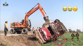 Dangerous High Speed Dumper Truck Slipped and Fell down the Road Rescue with Excavator Machine