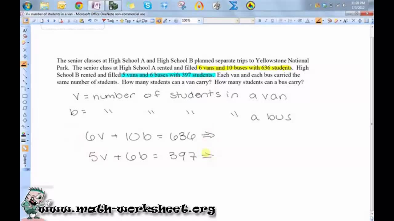 Algebra Systems of Equations and Inequalities Word problems – System of Equation Word Problems Worksheet