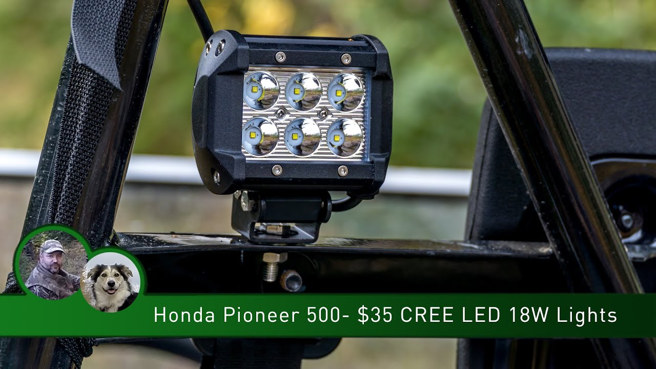 honda pioneer 500 35 cree led 18w lights youtube rh youtube com