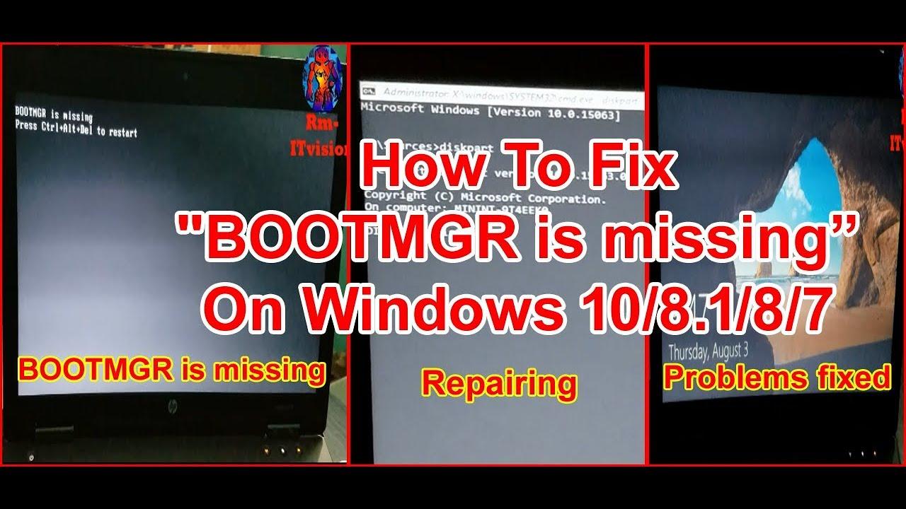 bootmgr missing windows 10 usb