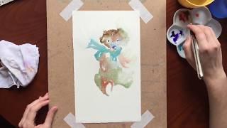 Акварель, вольная техника. Мишка тедди / Watercolor Teddy in free technique