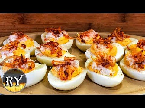 Cajun Crab Deviled Eggs With Crispy Shallots