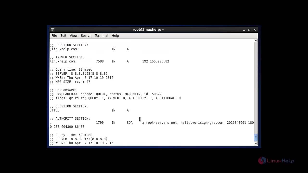 Dig commands to Query DNS