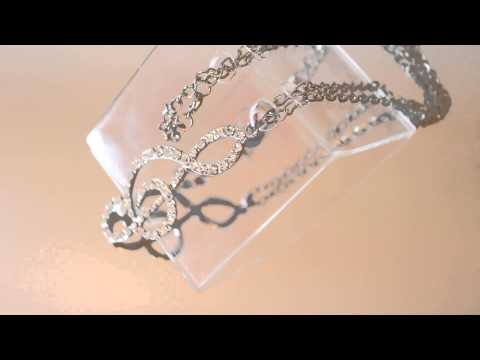 Long Musical Symbols Diamonte Necklace