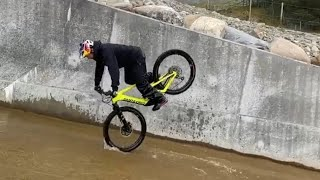 Danny macaskill santa cruz bike on wheelie (scottish highlands)