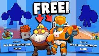 HUGE FREE ROBO MIKE u0026 MECHA BO SKIN GIVEAWAY u0026 UNLOCKING + NEW SKIN GAMEPLAY IN BRAWL STARS!