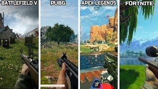 Battlefield V ( Firestorm ) VS Apex Legends VS PUBG VS Fortnite - Graphics comparison