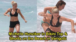 Date : 07 june 2020location varigotti celebrity michelle hunziker in bikini top and shorts on the beach de - michelle...