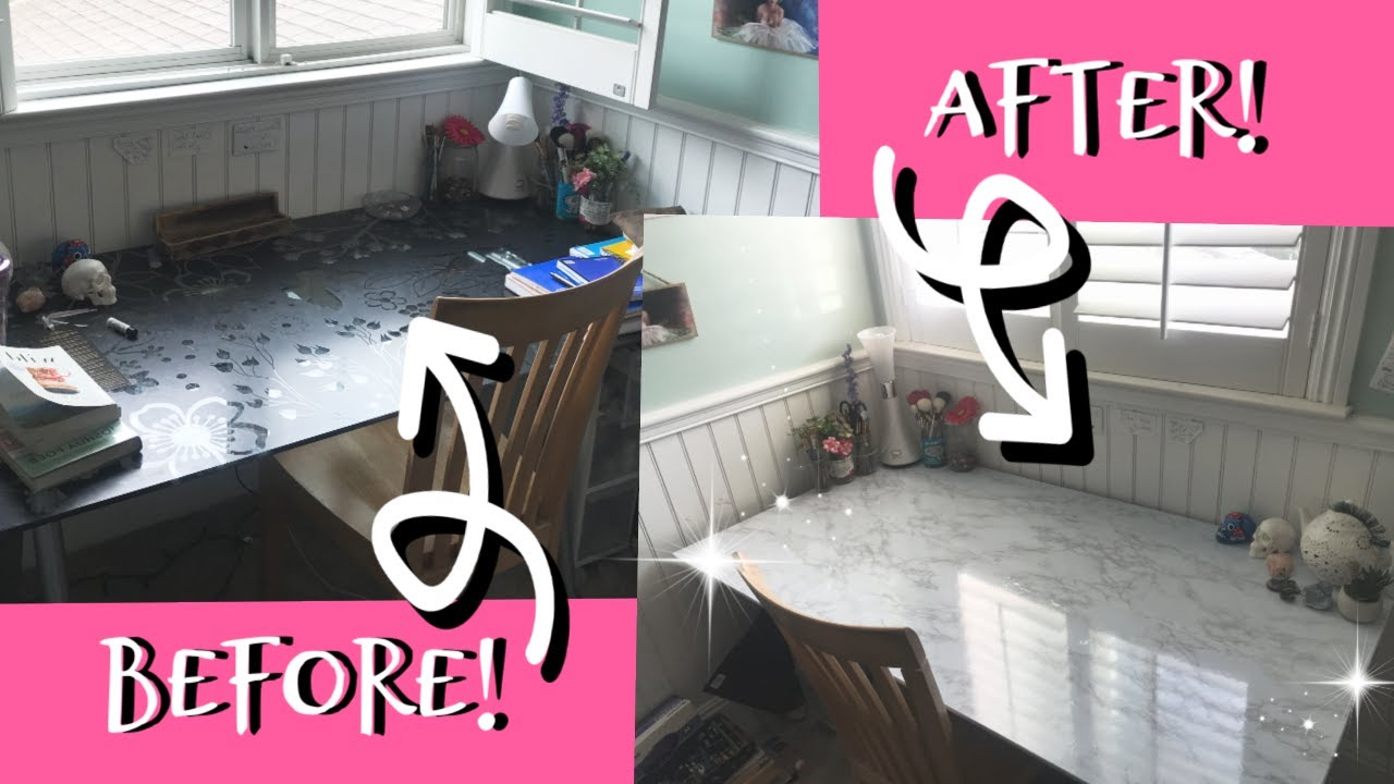 White Marble Contact Paper Diy Desk Makeover Simple Easy And Cheap