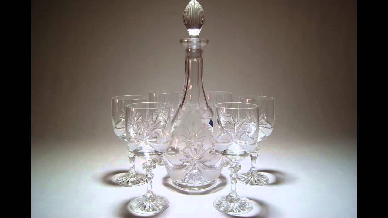 Juego de copas con botella de cristal para vino youtube for Copas para whisky