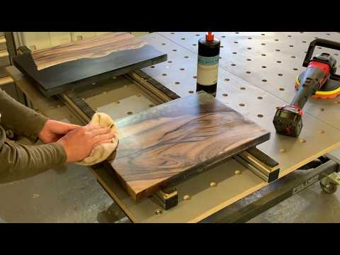 How to Finish an Epoxy Resin Slab p2 - #MWshopTalk river and live edge