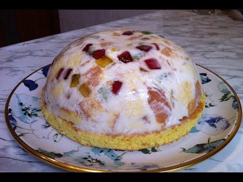 ТортБитое Стеклос Бисквитом,Свежими Фруктами и Мармеладом/Cake Broken Glass/Простой Торт