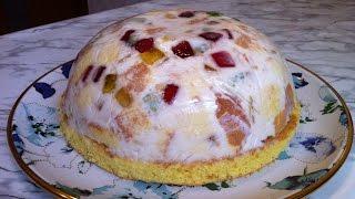 """Торт """"Битое Стекло"""" с Бисквитом, Свежими Фруктами и Мармеладом / Cake """"Broken Glass"""" / Простой Торт"""